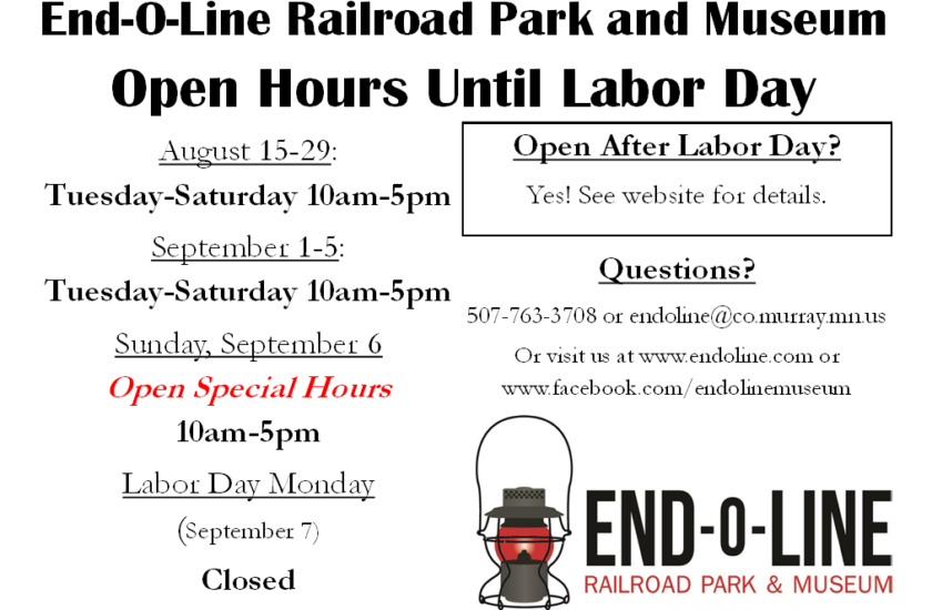 Open on Sunday Sept 6; Closed Labor Day
