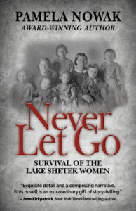 A picture of the book cover. It is a gray photo with black and red text. In the middle is a picture of eight women and children.